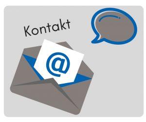 Bild zeigt symbolisch Kontakt mit Briefumschlag und Sprechblase