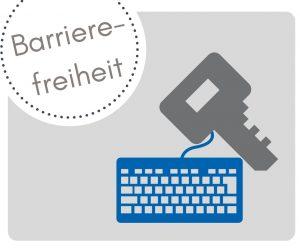 Barrierefreiheit symbolisch dargestellt mit Schlüssel und PC Tastatur