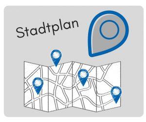 Bild zeigt Stadtplan mit Fixpunkten symbolisch in grau und blau