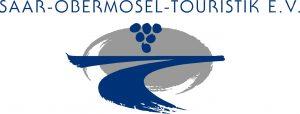 Logo, grau und blau, Traube und Fluss angedeutet
