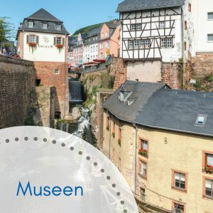 Städtische Museen Amüseum und Wasserfall vor gigantischer Kulisse des Wasserfalls