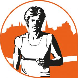 Sportler Graphik, Läufer in schwarz weiss vor orangener Stadtkulisse